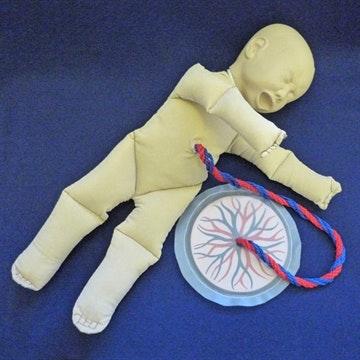 Fosterdukke med navlestreng og placenta