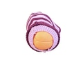 Praktisk model af livmoderen, livmoderhalsen og skeden strikket i uld
