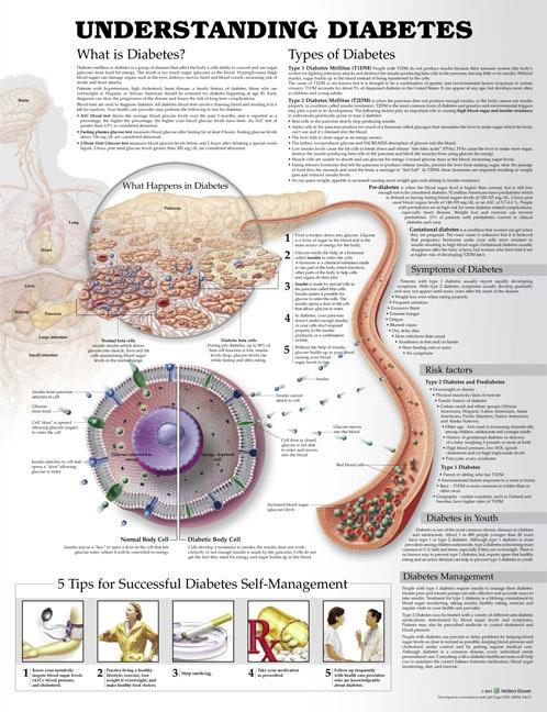 Lamineret plakat om de forskellige typer diabetes (sukkersyge) på engelsk